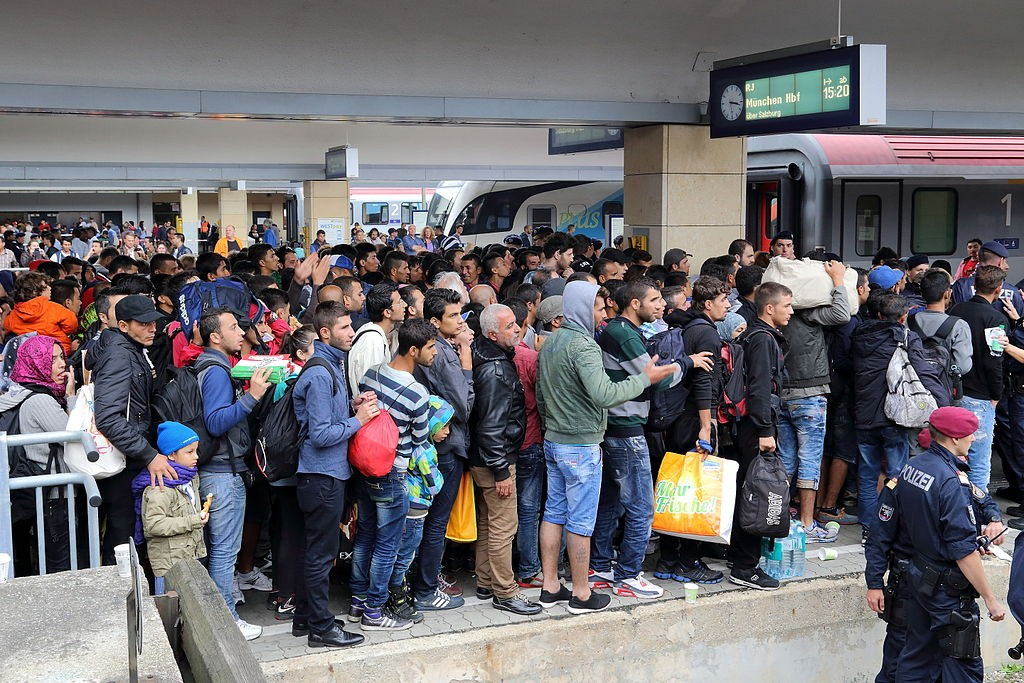 Migrants West Vienna railway station